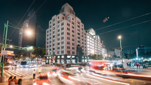 night time lapse of mexico city skyline - torre latinoamericana stock videos & royalty-free footage