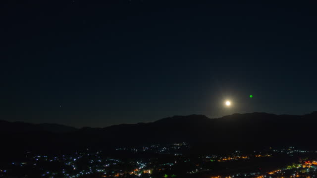 night time lapse of tranquil city among mountains with moonrise - illustration stock videos & royalty-free footage