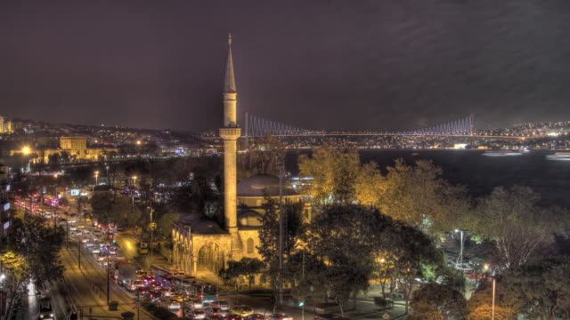 Night time lapse shot of a small mosque on the banks of the Bosphorus in Instanbul.