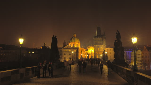 night time on charles bridge, prague - czech culture stock videos and b-roll footage