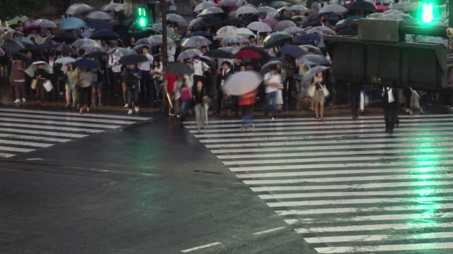 night time-lapse arial view of shibuya crossing in tokyo in rainy day - verkehrs leuchtsignal stock-videos und b-roll-filmmaterial