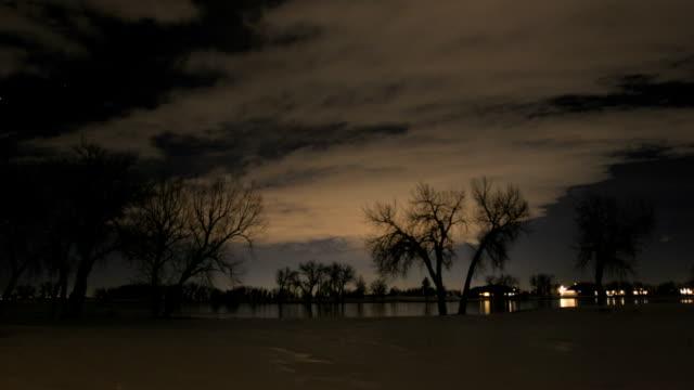 Night Time Trees, Snow, Lake, Pt1