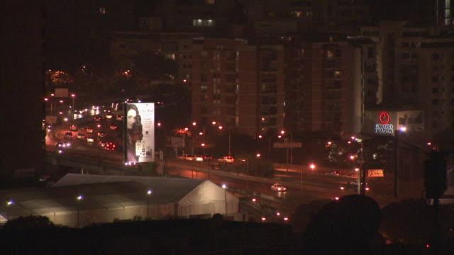 WS HA Night time view of highway traffic / Metropolitan District of Caracas, Miranda, Venezuela