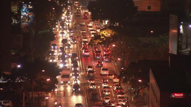 WS HA Night time view of traffic in streets / Metropolitan District of Caracas, Miranda, Venezuela