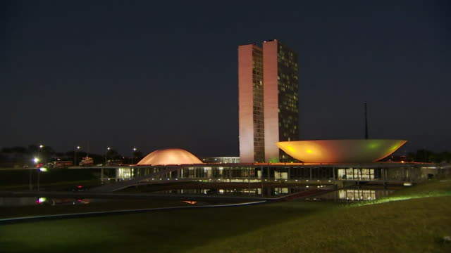 Night time views of the National Congress building in Brasilia Brazil