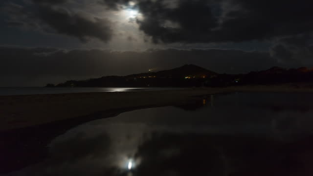 Night timelapse at Byron Bay with the lighthouse, during Blood Moon, Australia in 4K