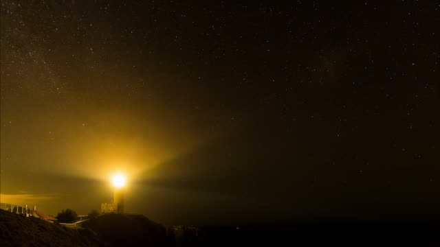 Night timelapse at Byron Bay with the lighthouse, New South Wales, Australia in 4K
