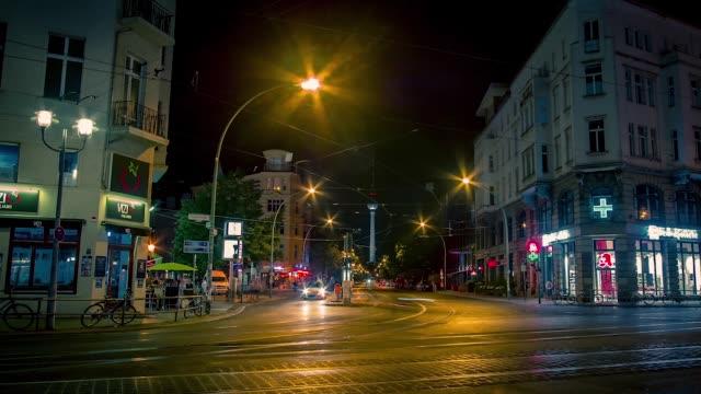 night timelapse of a city street in berlin - street light stock videos & royalty-free footage