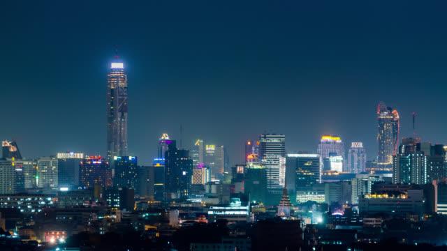 Night timelapse of Bangkok city downtown, Thailand