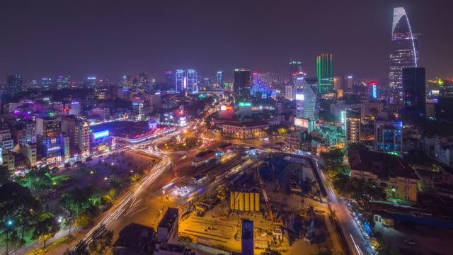 night timelapse of ben thanh market, ho chi minh city (saigon) vietnam (wide view) - ho chi minh city stock videos & royalty-free footage