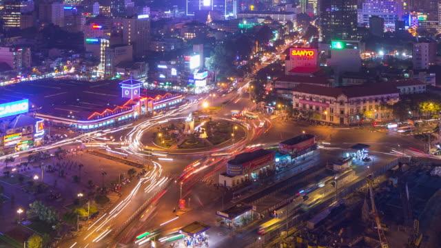 night timelapse of ben thanh market, ho chi minh city (saigon) vietnam - ho chi minh city stock videos & royalty-free footage