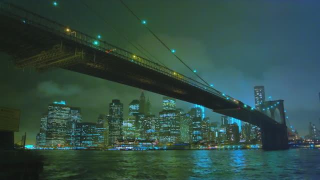 night timelapse of brooklyn bridge, looking towards manhattan south west. - brooklyn bridge stock videos and b-roll footage