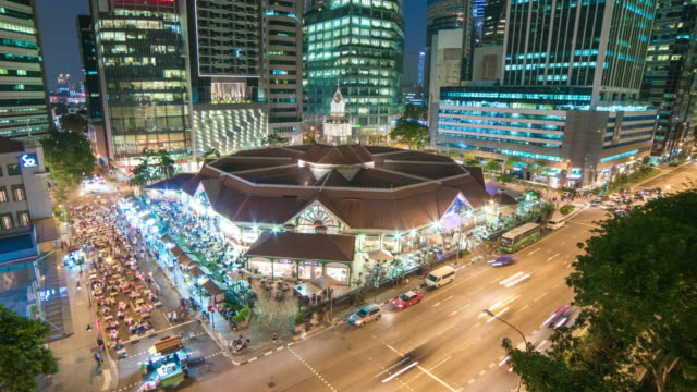 Night Timelapse of Lau Pa Sat Hawker Centre (Telok Ayer Market), Singapore