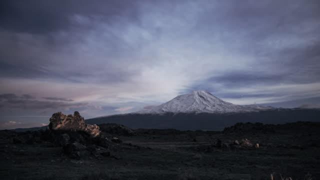 Night time-lapse of Mt. Ararat in Eastern Anatolian in moon light.
