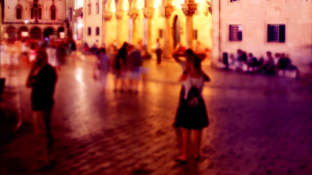 night timelapse of people in motion - hd 25 fps stock videos & royalty-free footage