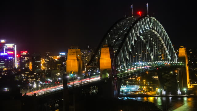 Night Timelapse of Sydney Harbour Bridge, Australia in 4K