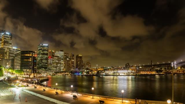 Night Timelapse of Sydney skyline and Sydney Harbour in 4K