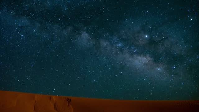 night timelapse of the milkyway and the dunes in the desert - sand dune stock videos & royalty-free footage