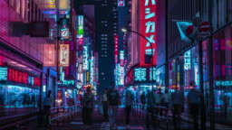 A night timelapse of the neon street at the downtown in Shinjuku Tokyo wide shot