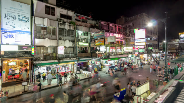 Night timelapse of the people crowd at the Khaosan Road of Bangkok, Thailand
