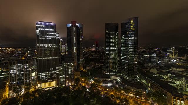 4k night timelapse of the skyline of frankfurt am main, germany - wop productions stock-videos und b-roll-filmmaterial