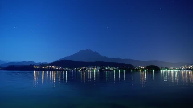 Night time-lapse on lake- Stock video