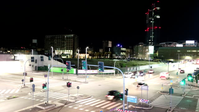 night timelapse video of milan - milano video stock e b–roll