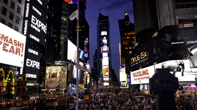 night times square. - times square manhattan stock videos & royalty-free footage