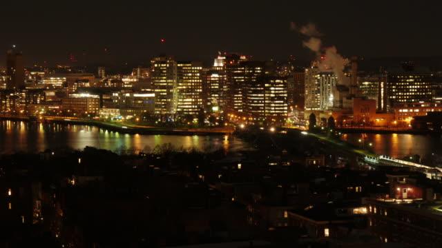 Night TL shot of Longfellow Bridge in Boston