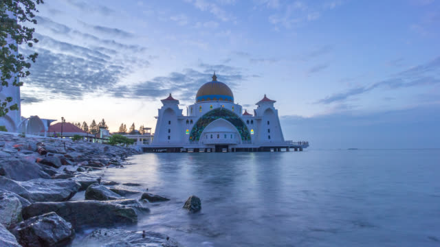 night to day at malacca floating mosque - malacca stock videos and b-roll footage
