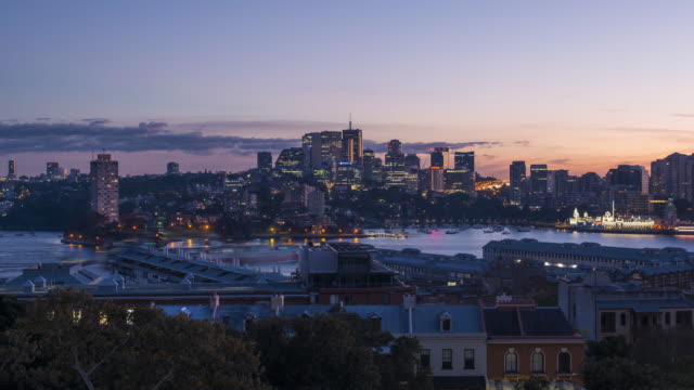 night to day skyline of north sydney 4k - north stock videos and b-roll footage