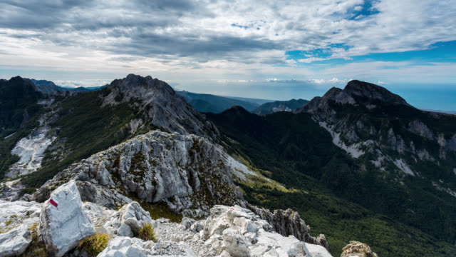 LUCCA - CIRCA 2015: Night to Day Sunrise Time Lapse of the Apuane Alps from Pizzo d'uccello