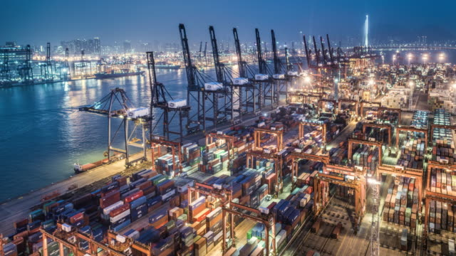 Night to day time lapse of Hong Kong's commercial container port