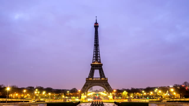 hd night to day timelapse: eiffel tower paris trocadero action - eiffel tower stock videos and b-roll footage
