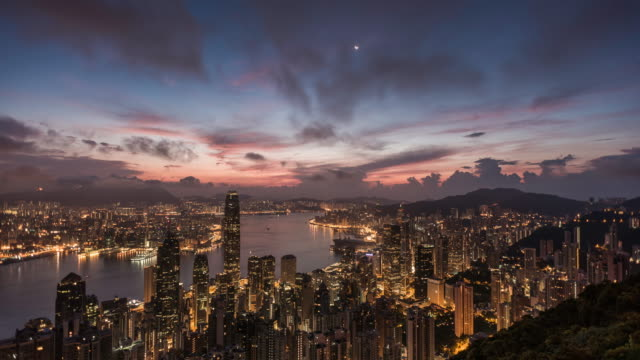 night to day timelapse of Hong Kong skyline