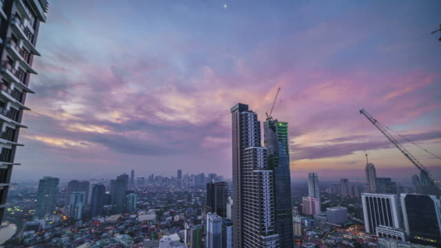 Night to day time-lapse of Makati City