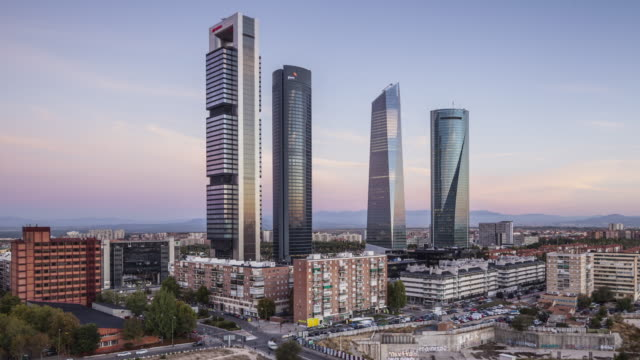 vídeos de stock e filmes b-roll de zo night to day tl of cuatro torres business area in madrid, spain. - espanha