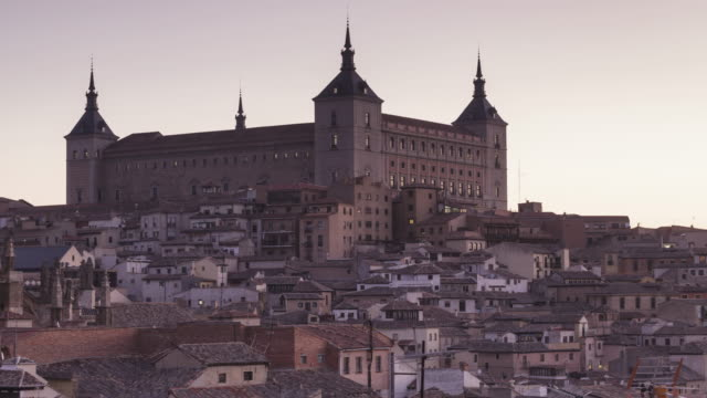 night to day tl of the alcazar of toledo, spain. - philip ii of spain stock videos and b-roll footage