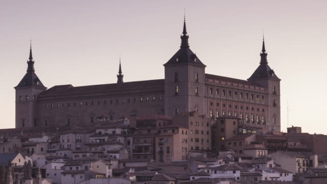 zo night to day tl of the alcazar of toledo, spain. - philip ii of spain stock videos and b-roll footage