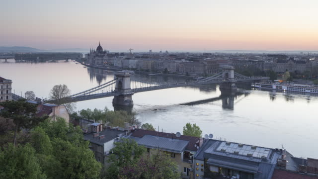 Night to day TL of the city of Budapest and it's Chain Bridge.