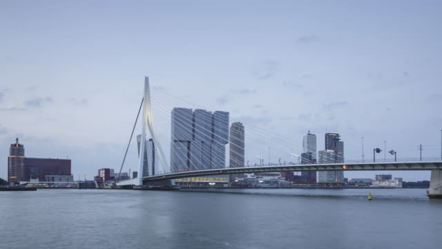 vídeos de stock, filmes e b-roll de night to day tl of the erasmusbrug and modern architecture in rotterdam. - drawbridge