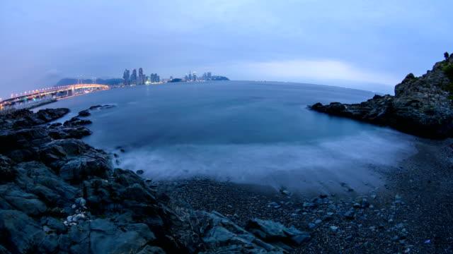 Night to Sunrise view of coastal feature of Seopjari village