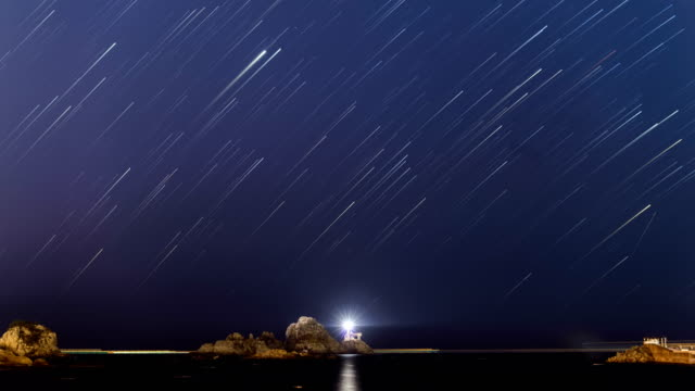 night to sunrise view of star trail in the sky, oryuk island, busan - red cloud sky stock videos & royalty-free footage