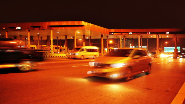 night toll booth - crossing stock videos & royalty-free footage