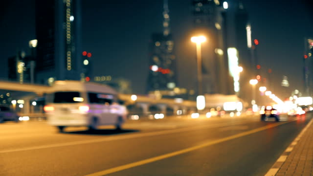 Night traffic at the Sheikh Zayed road in Dubai