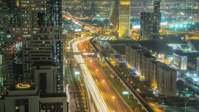 night traffic in dubai - street light stock videos & royalty-free footage