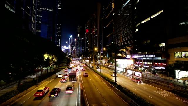 night traffic in hong kong - hong kong island stock videos & royalty-free footage