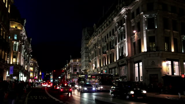 night traffic in london regent street - west end london stock videos and b-roll footage