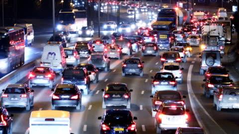 night traffic in stockholm - traffic jam stock videos & royalty-free footage