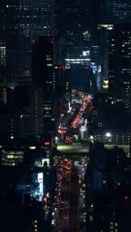 Night Traffic in Tokyo, Japan.